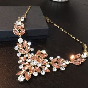 Charter Club Peach / Diamond/ Gold Floral Necklace